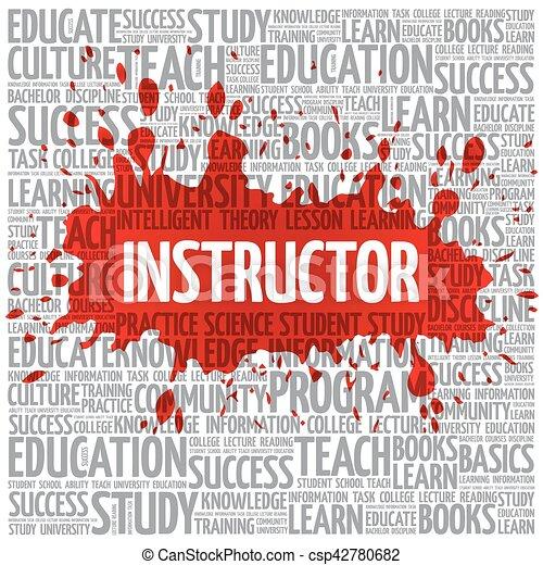 wolk, instructeur, concept, woord, opleiding - csp42780682