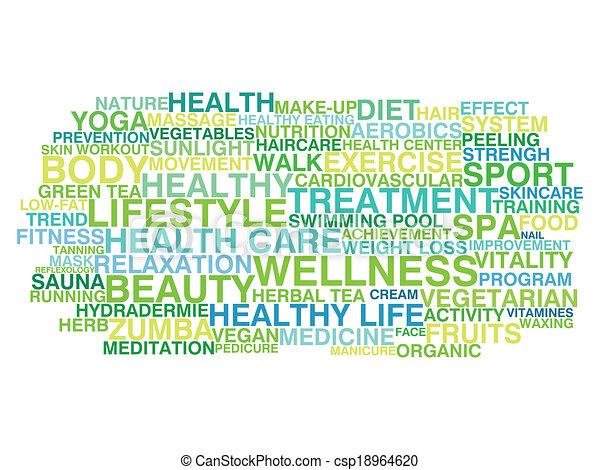 wolk, lifestyle., woord, gezonde  - csp18964620
