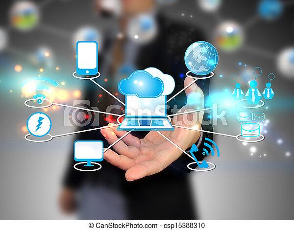wolk, vasthouden, zakenman, technologie, gegevensverwerking, concept - csp15388310