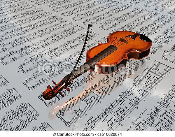 wolken, blad, weerspiegelen, muziek, viool, achtergrond - csp10828874