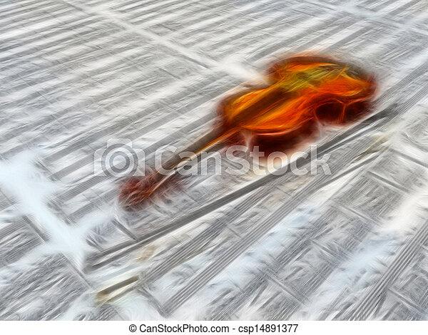 wolken, blad, weerspiegelen, muziek, viool, achtergrond - csp14891377