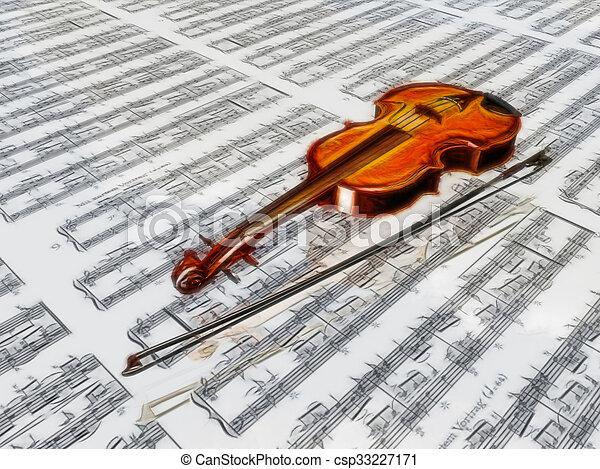 wolken, blad, weerspiegelen, muziek, viool, achtergrond - csp33227171