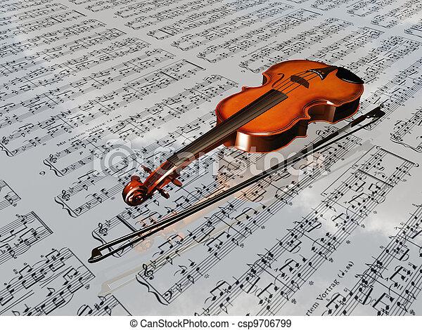 wolken, blad, weerspiegelen, muziek, viool, achtergrond - csp9706799