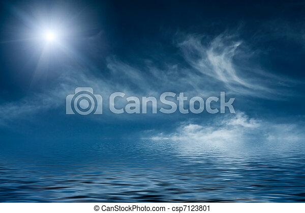 wolken, hemelblauw, boven, sereniteit, ocean. - csp7123801