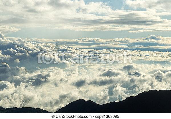 wolken, hoogte, verbreidingsgebied, hoog, ecuadoriaans, andes - csp31363095