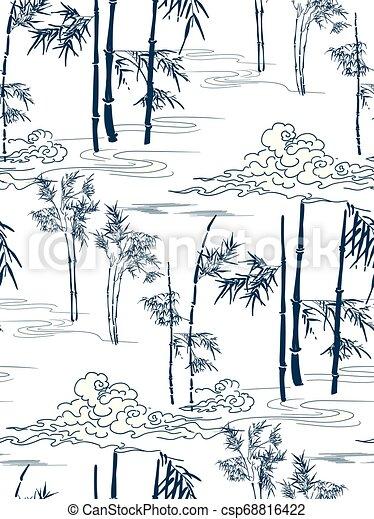 wolken, model, japanner, seamless, vector, bamboe - csp68816422