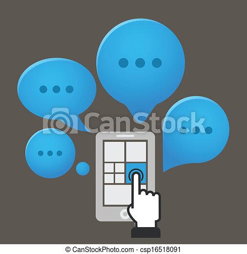 wolken, toespraak, smartphone, groep, moderne - csp16518091