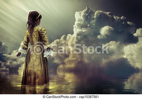 wolkenhimmel, concept., himmelsgewölbe, reflektiert, fantasie, gelassen, sea. - csp15387561