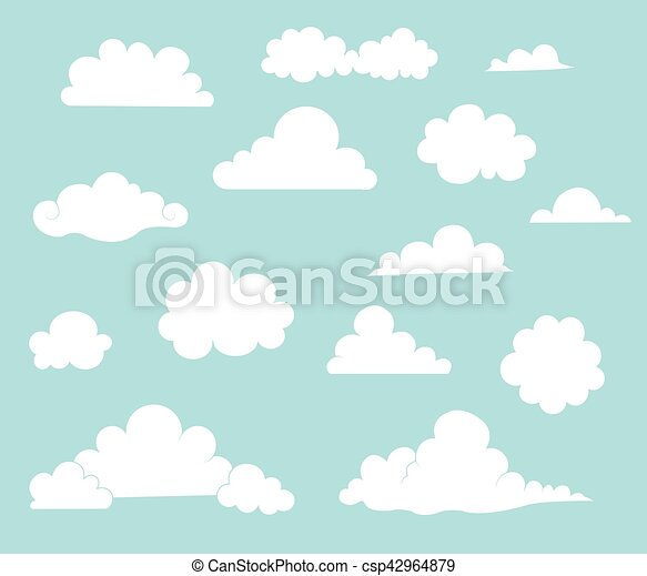 wolkenhimmel, karikatur, sammlung - csp42964879