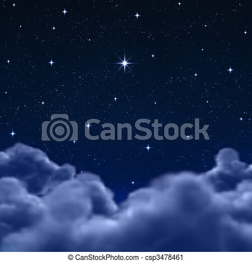 wolkenhimmel, raum, himmelsgewölbe, durch, nacht, oder - csp3478461