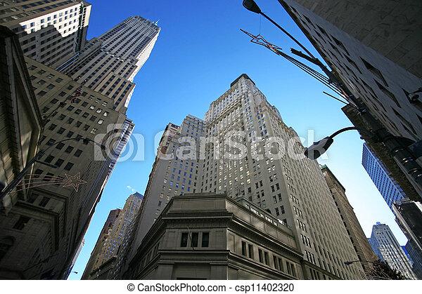 wolkenkratzer, klassisch, tauschen, wand, -, straße, york, neu , manhattan, bestand - csp11402320
