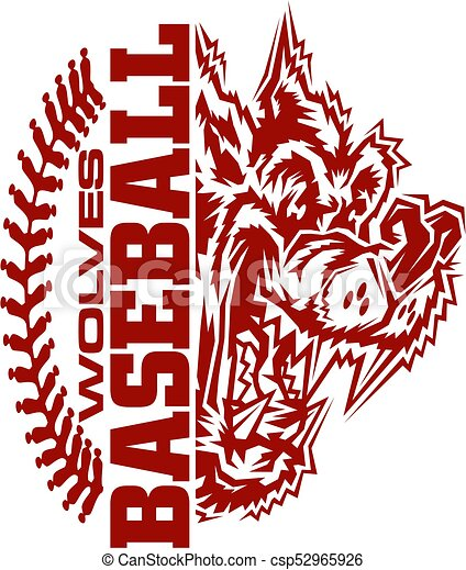 wolves baseball team design with stitches and half mascot vector rh canstockphoto com MLB Logo Vector Half Baseball Clip Art