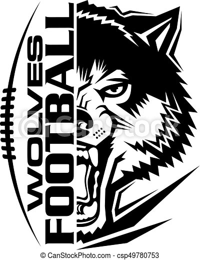 wolves football team design with mascot and laces for school