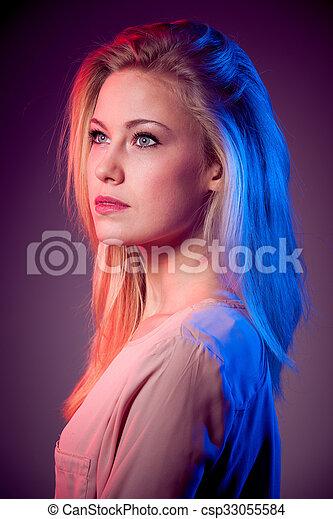 wom, porträt, blond, junger, schoenheit - csp33055584