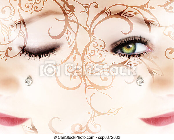 Woman's face with a diamond and scrollsWoman?s face with a diamond and scrolls - csp0372032