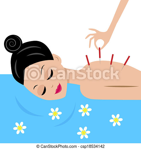 woman accept procedure acupuncture - csp18534142
