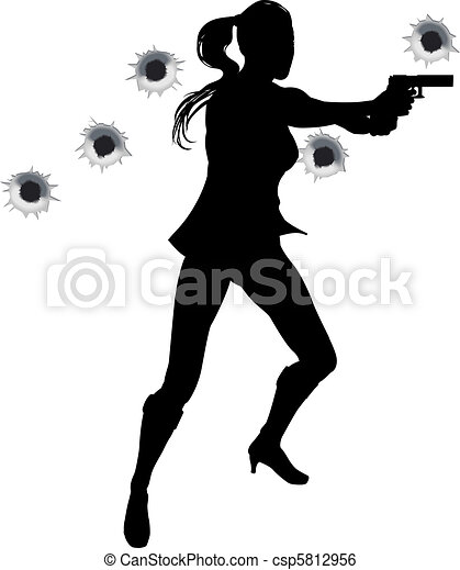 Woman action hero in gun fight silh. Female action hero ...