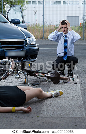 Woman after accident on bike - csp22420963