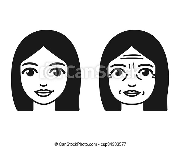 Line Drawing Face Woman : Woman aging illustration stylized womans face at different