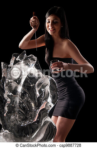 woman and a crystal statue - csp9887728