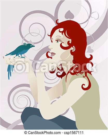 Woman and bird concept - csp1567111