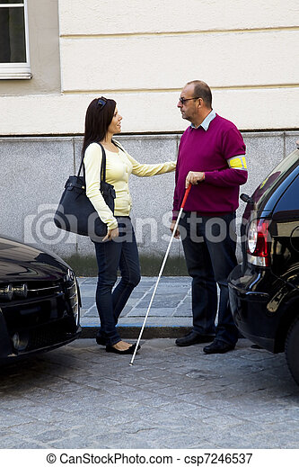 Woman and blind, visually impaired man - csp7246537