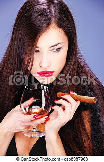 woman and cigar - csp8387968