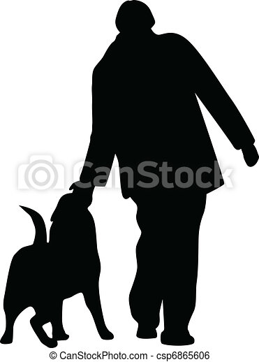 Woman and dog silhouette vector - csp6865606