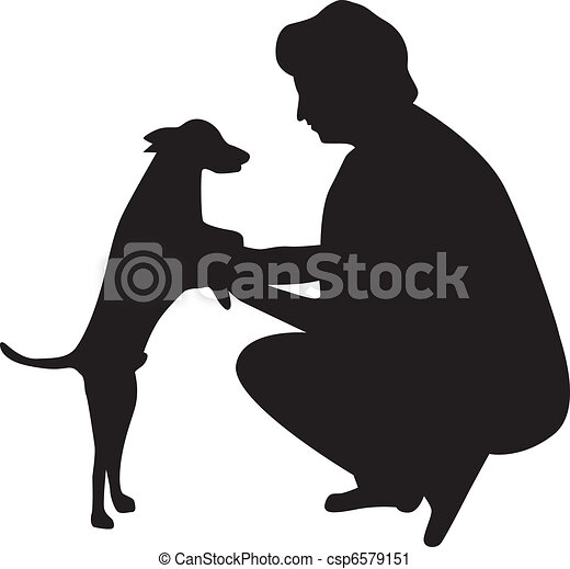 woman and dog silhouette vector - csp6579151