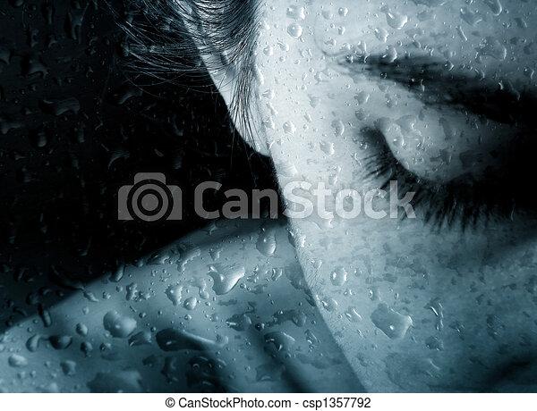 Woman and drops of rain - csp1357792