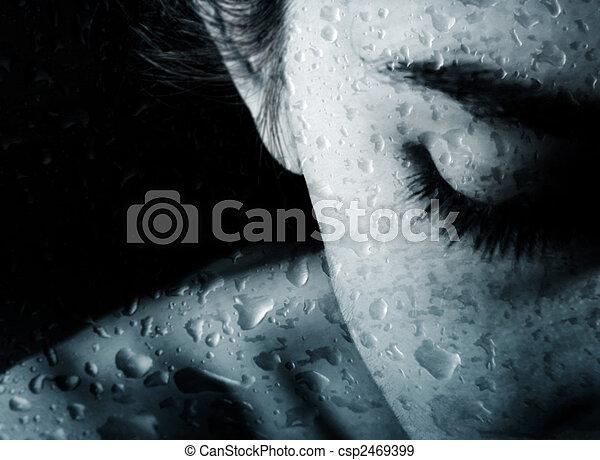 Woman and drops of rain - csp2469399