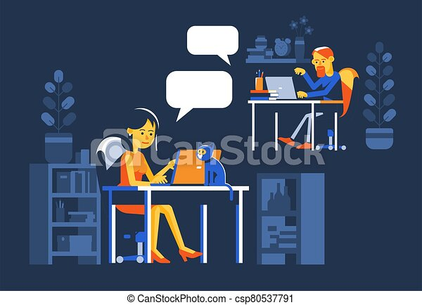 Woman and man chatting online at night. - csp80537791