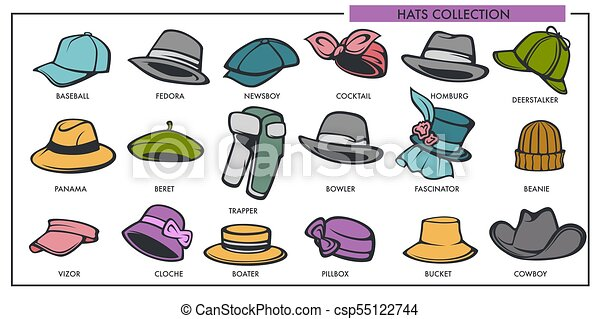 Woman And Man Hats Models Collection Of Retro And Modern Fashion Type  Vector Isolated Icons 410889d8450