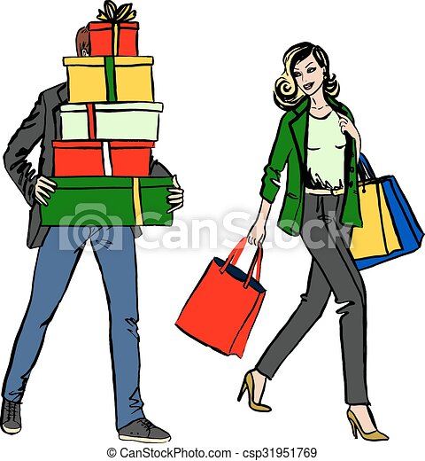 woman and man with shopping bag fashion illustration of clip art rh canstockphoto ca woman with shopping cart clipart african american woman shopping clipart