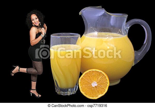 Woman and Orange Juice - csp7719316