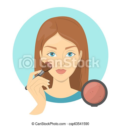 Woman applying face blush for perfect makeup - csp63541590