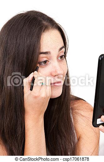 woman applying make-up  - csp17061878