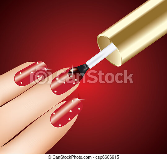 woman applying red nail polish on fingers, vector - csp6606915