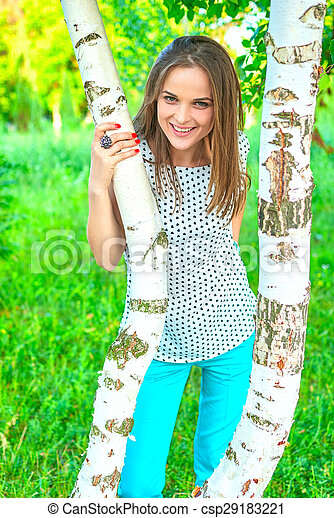 woman at a birch - csp29183221