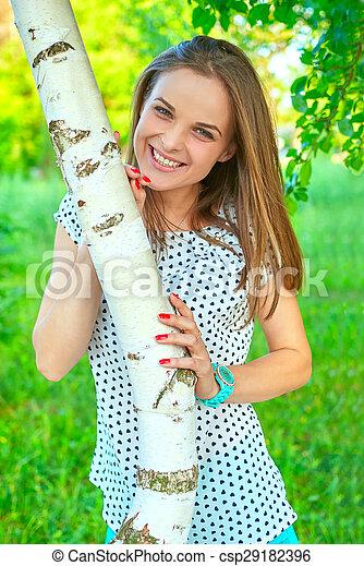 woman at a birch - csp29182396