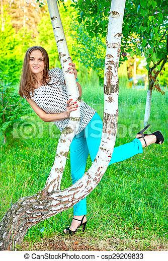 woman at a birch - csp29209833