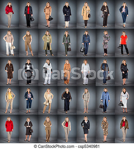 woman at a mature age in different clothes - csp5340981