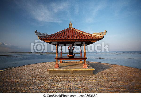 Woman at Bali seaside - csp0863662