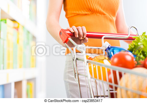 Woman at supermarket with trolley - csp23853417