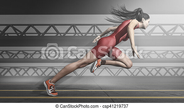 Woman athlete running on track. - csp41219737