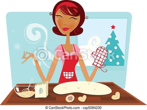 Woman baking christmas cookies - csp5084230