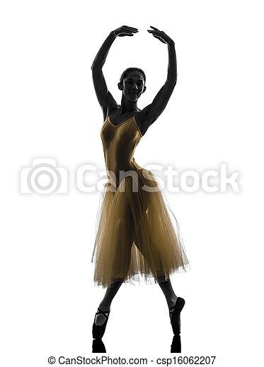 woman  ballerina ballet dancer dancing silhouette - csp16062207