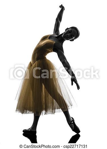 woman  ballerina ballet dancer dancing silhouette - csp22717131