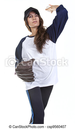 Woman Baseball or Softball Player P - csp9560407