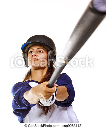 Woman Baseball or Softball Player - csp9283113